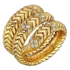 """Bulgari Diamond Gold """"Spiga"""" Wrap Ring"""
