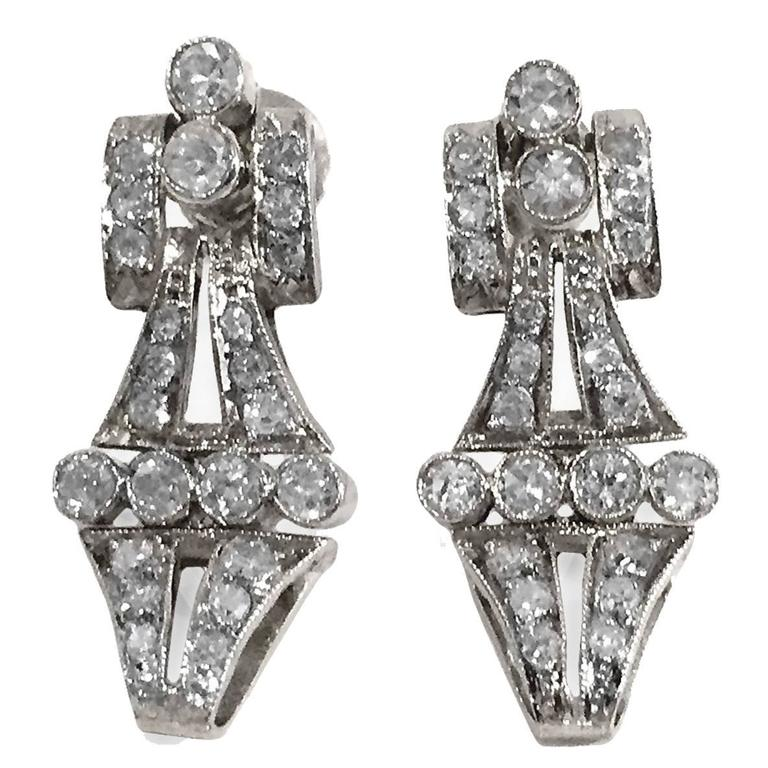 2 Carat Dress Up Down Diamond Platinum Earrings 1