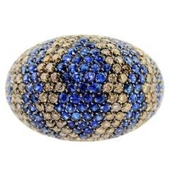 Blue Sapphire Cognac Diamonds Gold Dome Ring