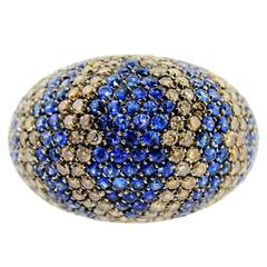 Blue Sapphire Cognac Diamonds Gold Dome Ring