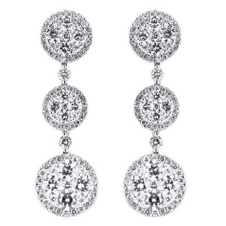 2.81 Carat Round Brilliant Cut Diamond Gold Halo Drop Earrings For Sale