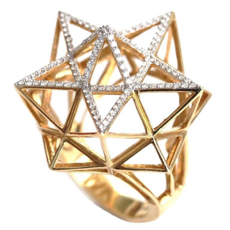 John Brevard Framework Star Partial Diamond Pave Gold Ring uRRJyJC