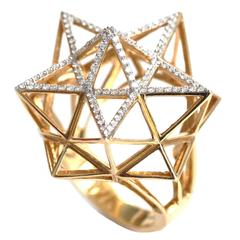 Framework Star Partial Diamond Pave Gold Ring