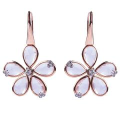 18kt Gold, Rose Quartz and Diamond Daisy Earrings