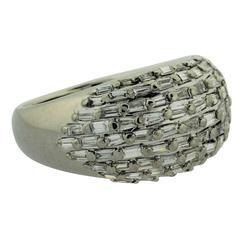 Baguette Diamond Platinum Domed Band Ring