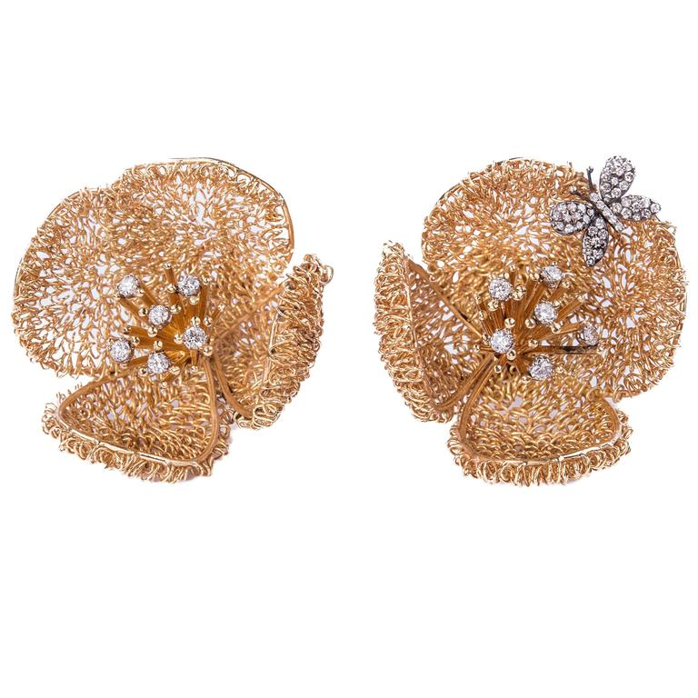 18kt Gold Vintage Flower Earrings