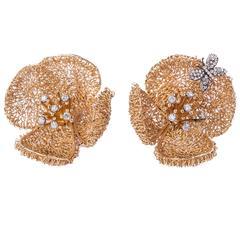 18kt Gold Vintage Flower Earrings