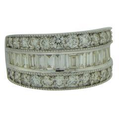 2.00 Carat Diamond Platinum Band Ring