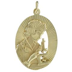 Unique Gold Charm -- Young Woman With Microscope