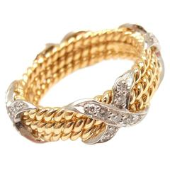 Tiffany & Co. Jean Schlumberger Three Row Diamond Gold Rope Band Ring
