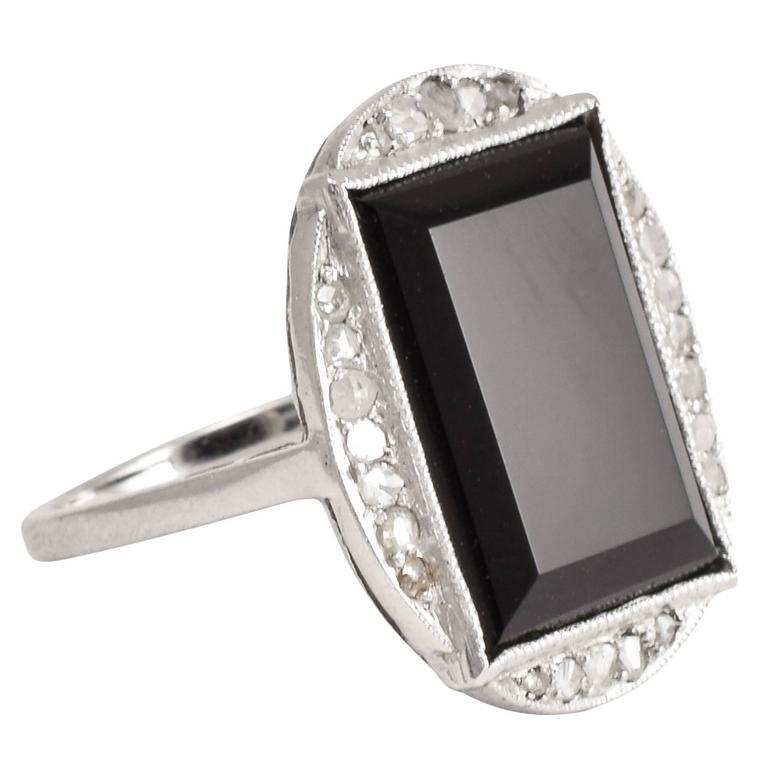 Art Deco Onyx Diamond Cocktail Ring