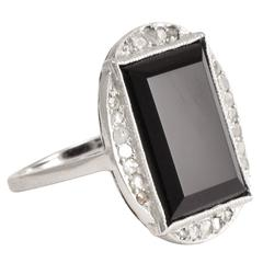 Art Deco Onyx Diamond Cocktail Ring