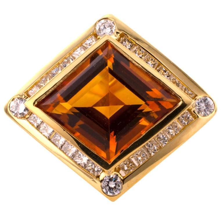 Modernistic Citrine Diamond Gold Ring 1