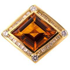Modernistic Citrine Diamond Gold Ring
