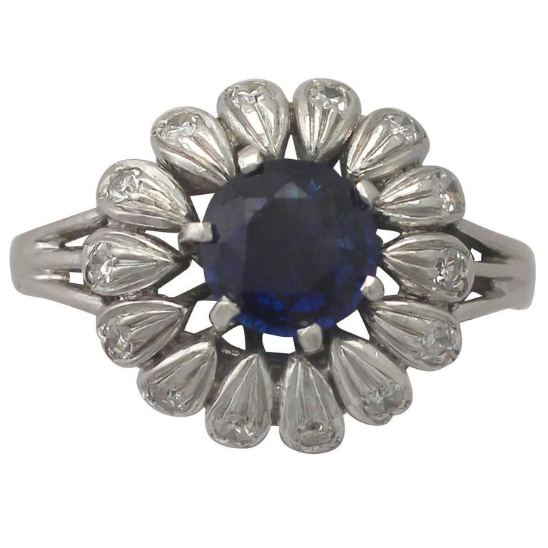 1940s 1.20 Carat Sapphire and Diamond White Gold Cocktail Ring