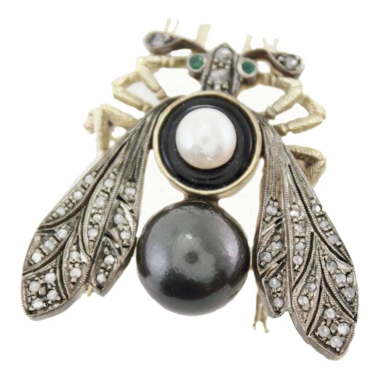 Black and White Pearl Diamond Silver Gold Fly Brooch