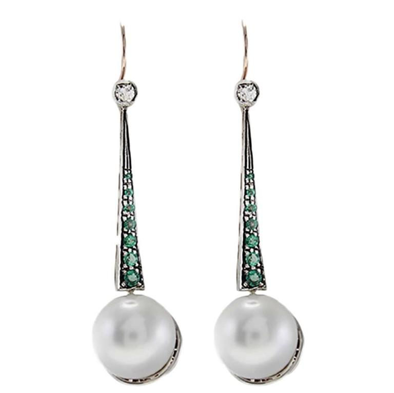 Large Pearl Emerald Diamond Silver Gold Drop Earrings For