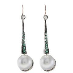 Large Pearl Emerald Diamond Silver Gold Drop Earrings