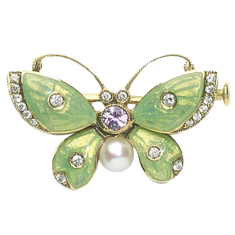 Guilloche Enamel Sapphire Pearl Diamond Gold Butterfly Brooch