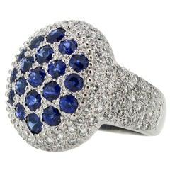 Mouawad Blue Sapphire Diamond Gold Rosette Oval Ring