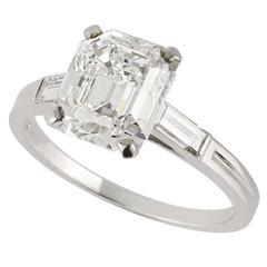 1940s Tiffany & Co. GIA Certified 3.48 Carat Emerald Cut Diamond Palladium Ring