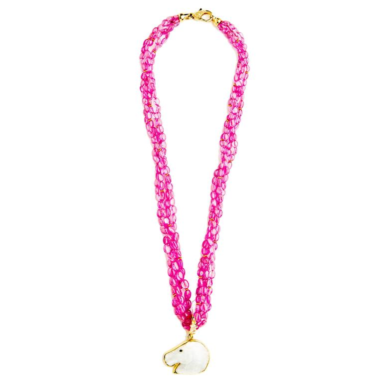 Pink Sapphire Multi Strand Necklace with Diamond Gold Clasp