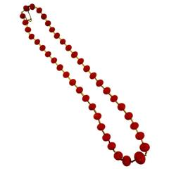 Red Coral Yellow Gold Long Chain Bead Necklace
