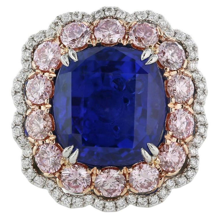 gold rose blue ceylon natural sapphire white gia and ring index