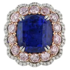 11.16 Carat GIA No Heat Sapphire Fancy Pink Diamond Platinum Ring
