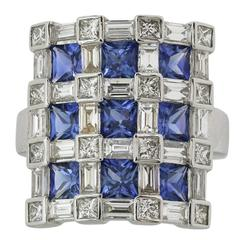 3.70 Carat Sapphires 2.71 Carat Diamonds Gold Checkerboard Style Ring