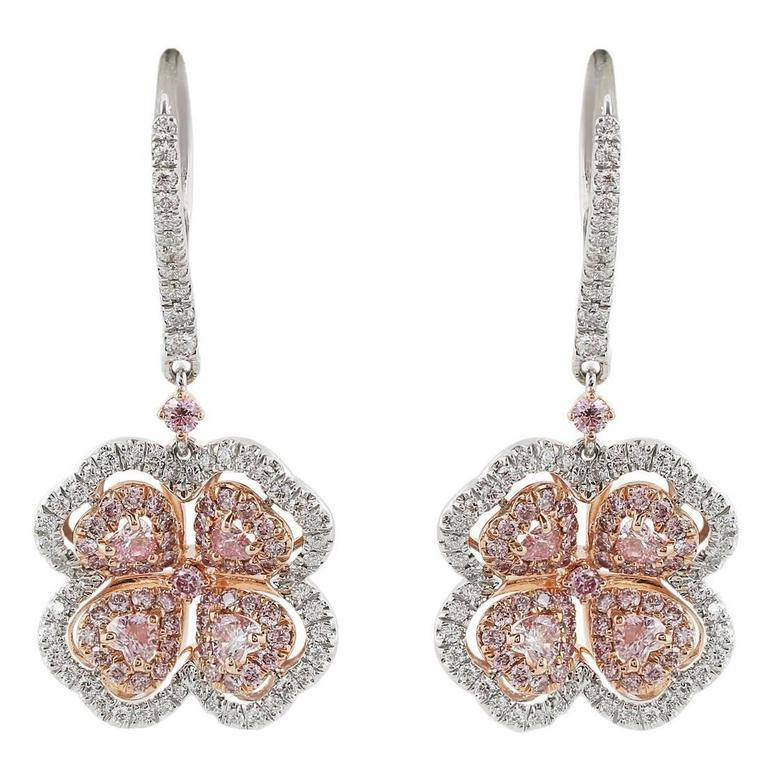dc227c69a41ab 1.83 Carat Pink Diamond Two-Color Gold Flower Earrings