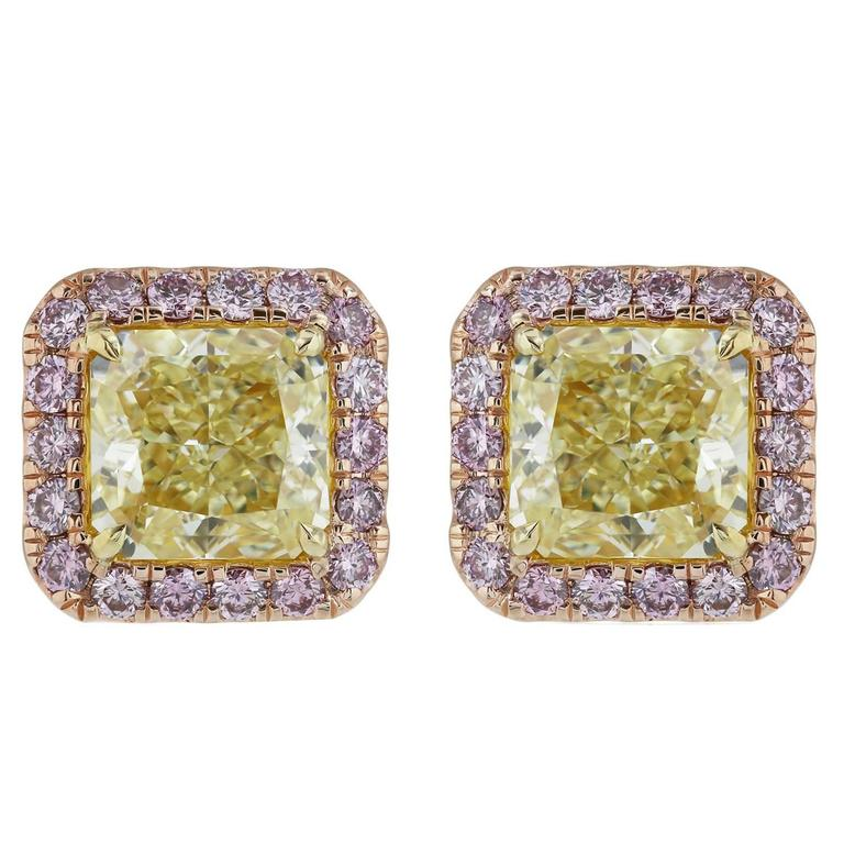 GIA Certified 6.41 Carat Fancy Yellow and Argyle Pink Diamond Earrings