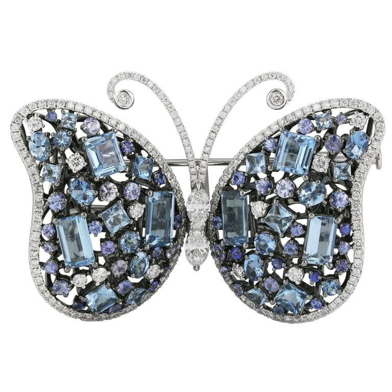 Aquamarine Sapphire Diamond Butterfly Brooch For Sale