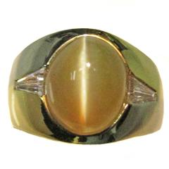 Chrysoberyl Cat's Eye Diamond Gold Ring