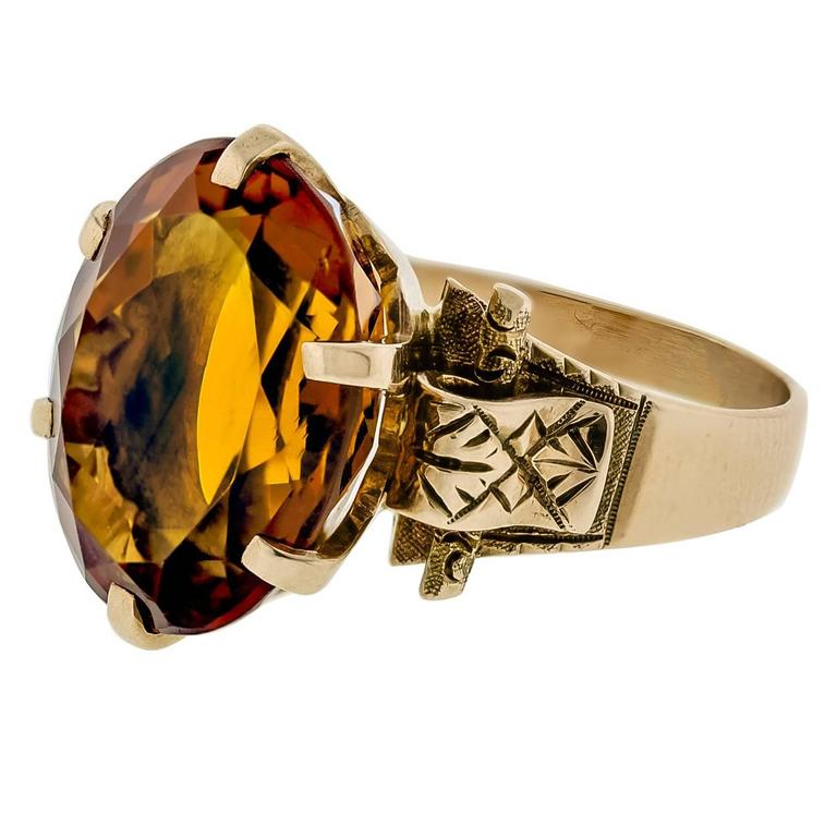 antique citrine and 14 karat yellow gold ring 1