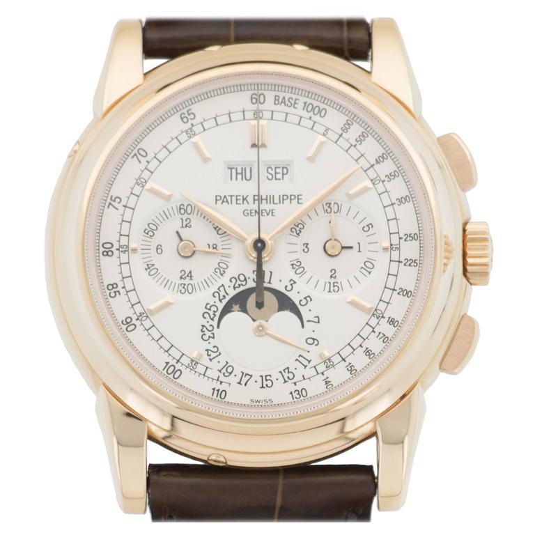 Patek Philippe Rose Gold Perpetual Calendar Chronograph Wristwatch Ref 5970R