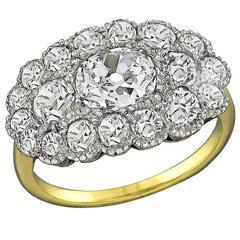 Victorian 1.03 Carat Center Diamond Cluster Ring