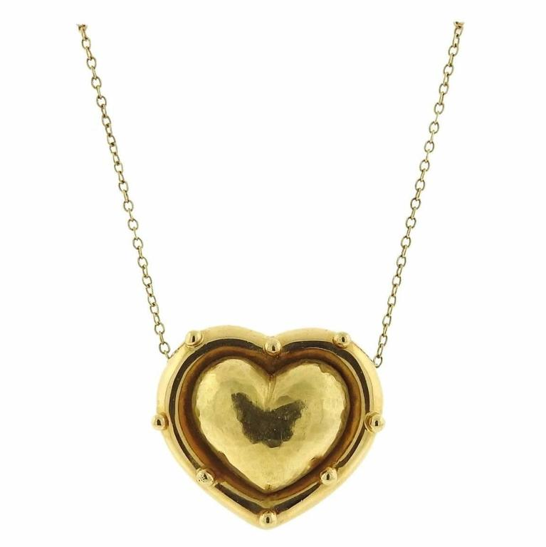 Tiffany and co paloma picasso gold puffed heart pendant necklace paloma picasso gold puffed heart pendant necklace for sale aloadofball Gallery