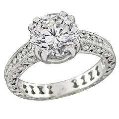 Tacori 2.03 Carat Diamond Platinum Engagement Ring and Wedding Band Set