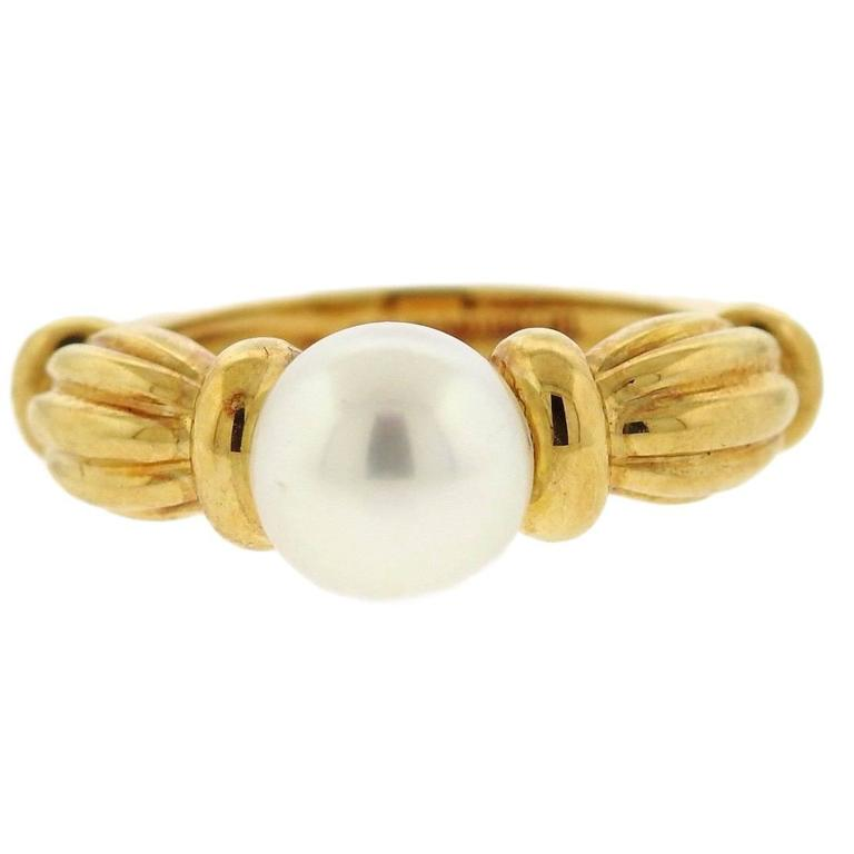 Tiffany & Co. Classic Pearl Gold Ring For Sale