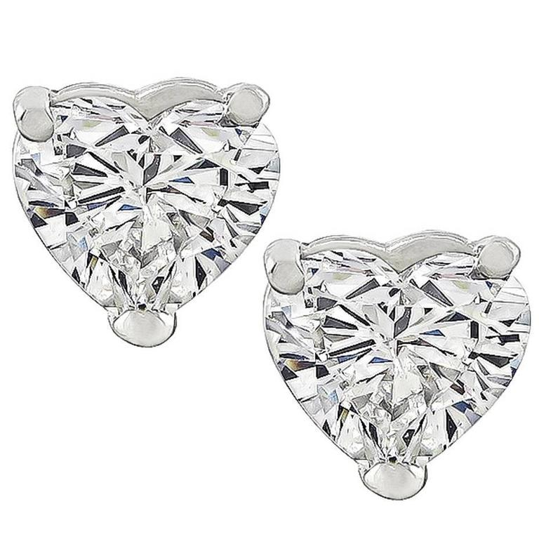 acb8139be GIA Certified 2.12 Carat Diamond Heart Stud Earrings For Sale at 1stdibs