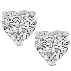 GIA Certified 2.12 Carat Diamond Heart Stud Earrings