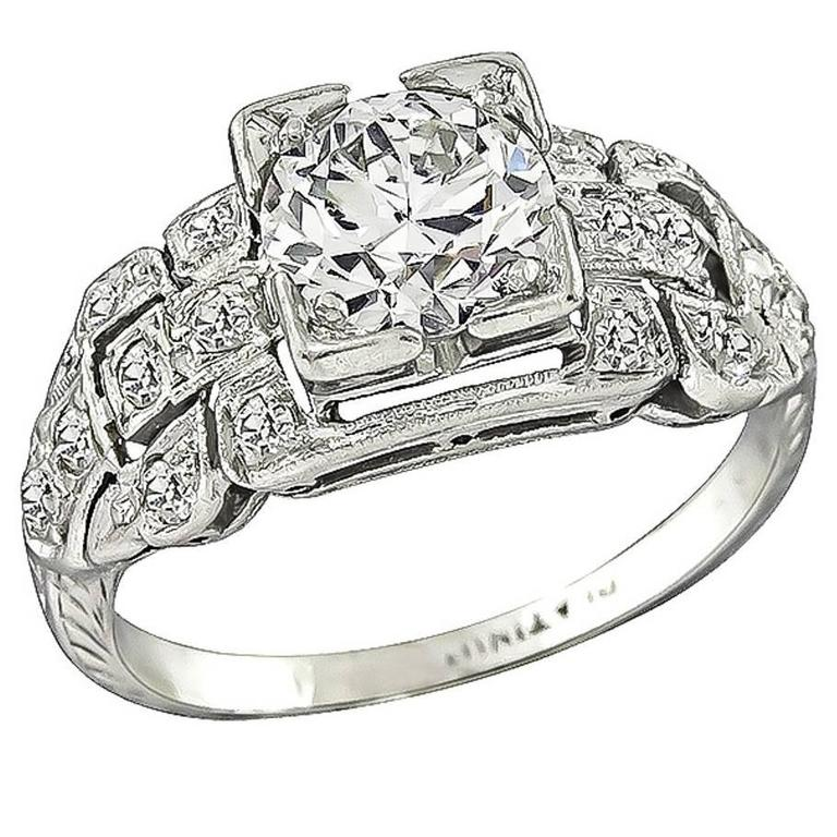 Art Deco 0.85 Carat Diamond Platinum Engagement Ring