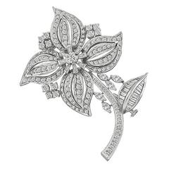 Amazing 5.50 Carats Diamonds Gold Flower Pin Brooch