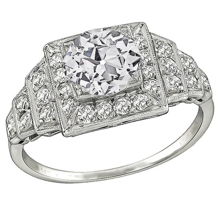 GIA Cert 1.15 Carat Diamond Platinum Engagement Ring