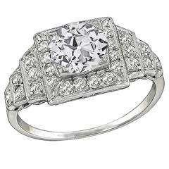 GIA Cert 1.15 Carat Diamond Platinum Engagement Ring