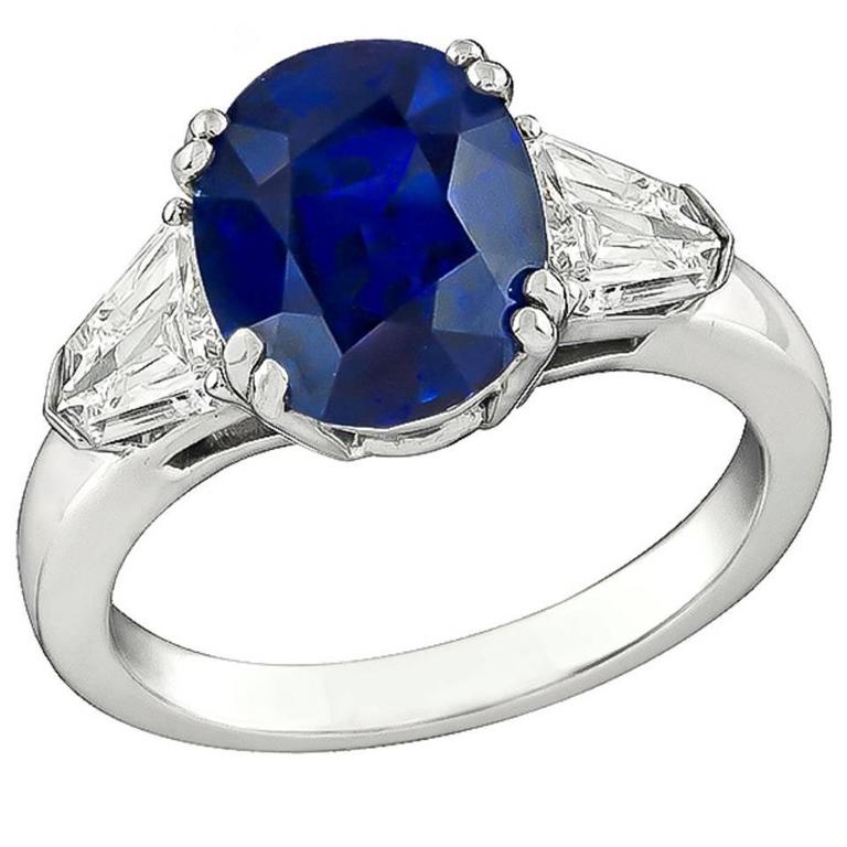 Amazing 4.04 Carat Natural Sapphire Diamond Platinum Engagement Ring