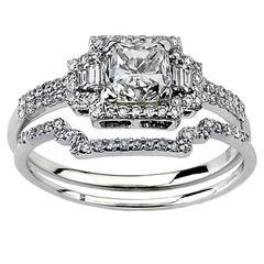 Two Set Diamond Gold Engagement Ring