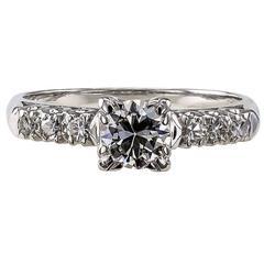1950s 0.50 Carat Diamond Gold Engagement Ring