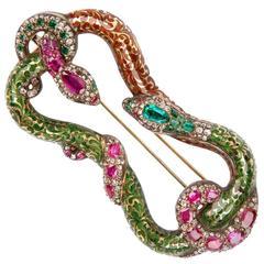 Emerald Ruby Diamond Snake Brooch circa 1820